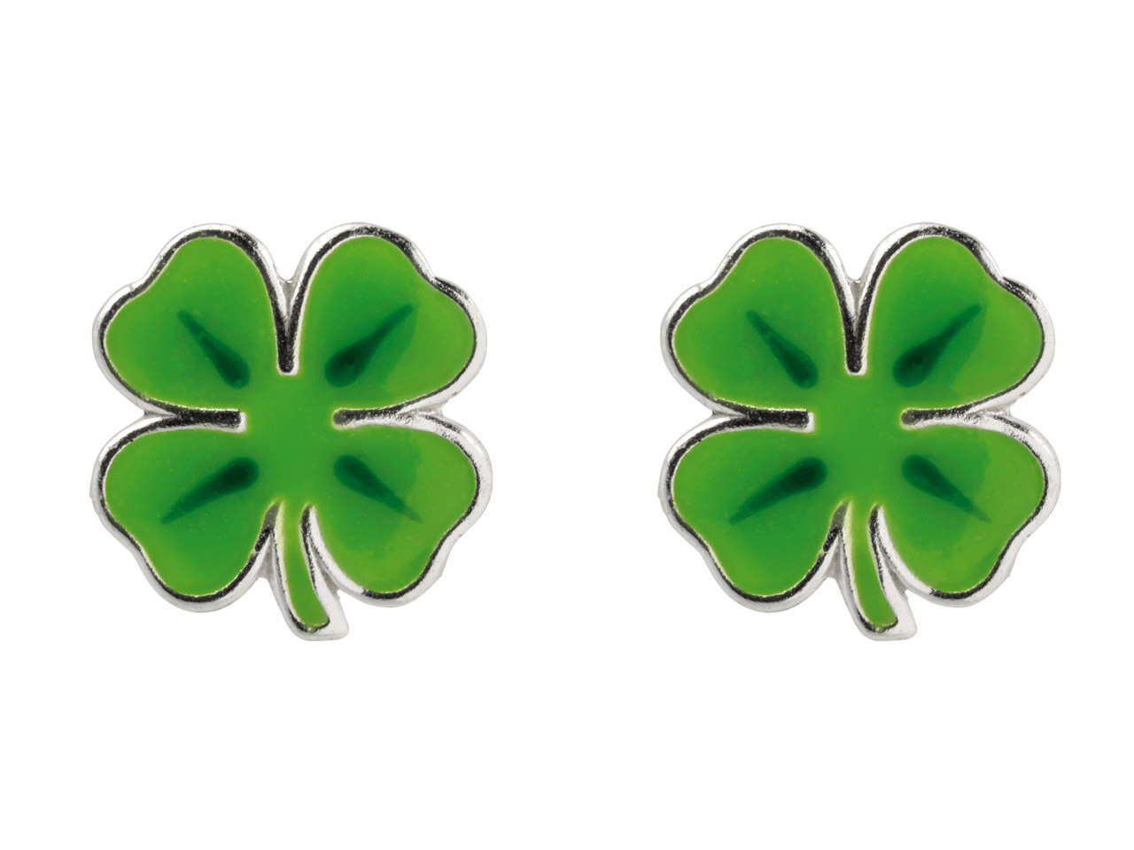 bring good fortune with these lucky clover. Stirling silver and enamelled stud earrings
